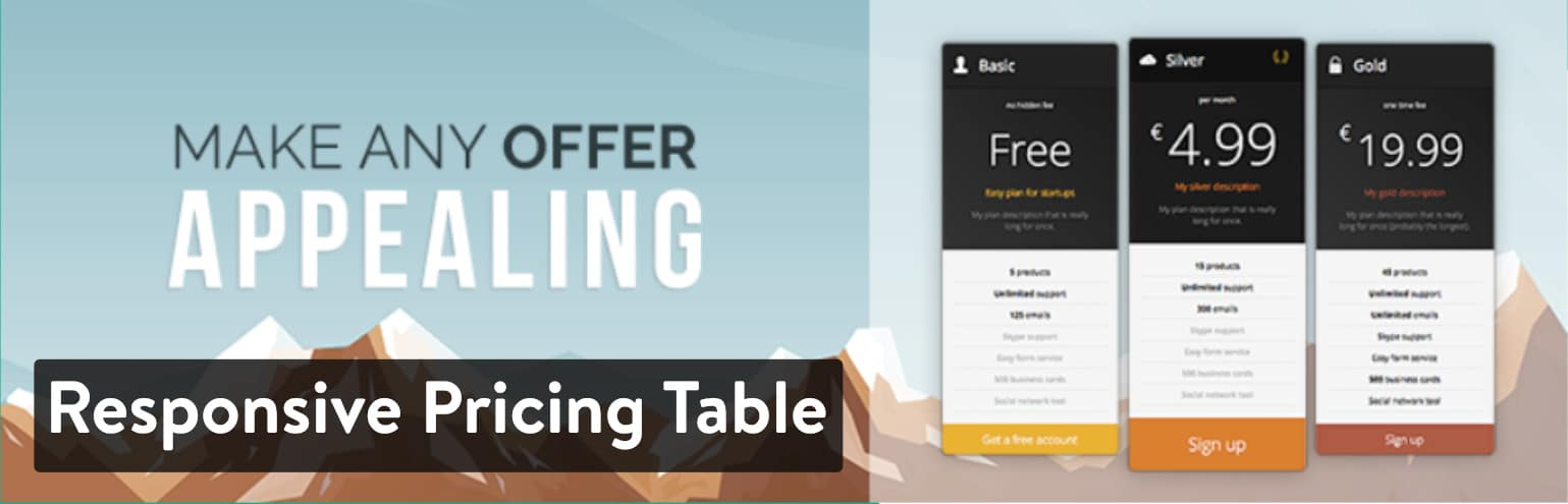 Extension WordPress Responsive Pricing Table