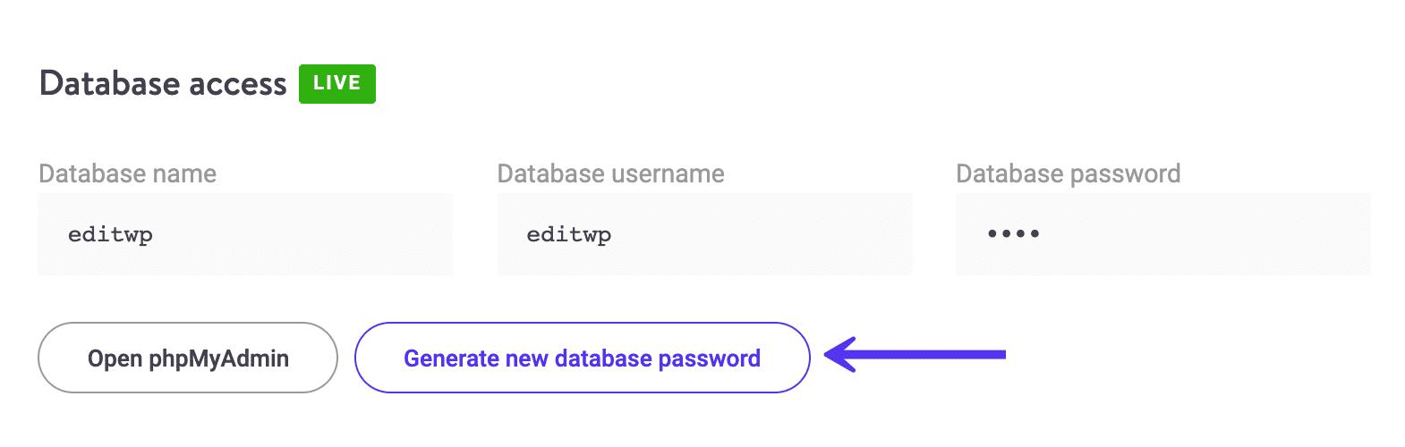 Générer un nouveau mot de passe de base de données