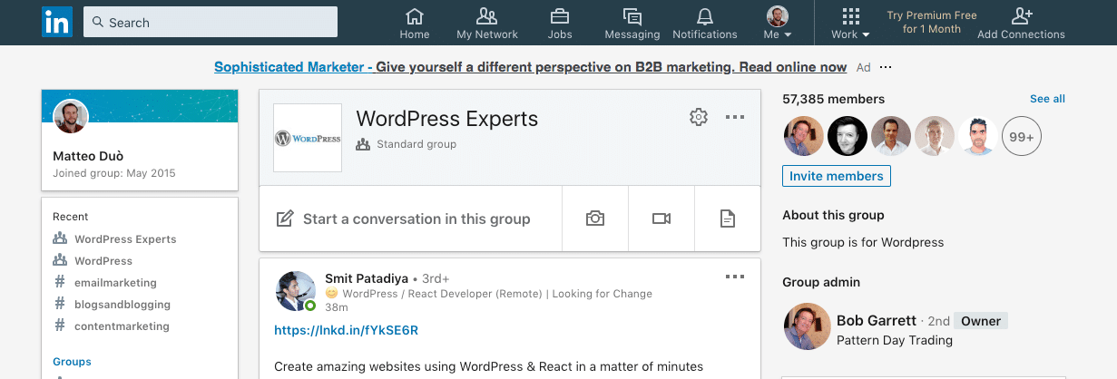 Groupe LinkedIn WordPress experts