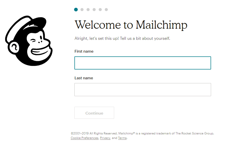 Information d'inscription Mailchimp