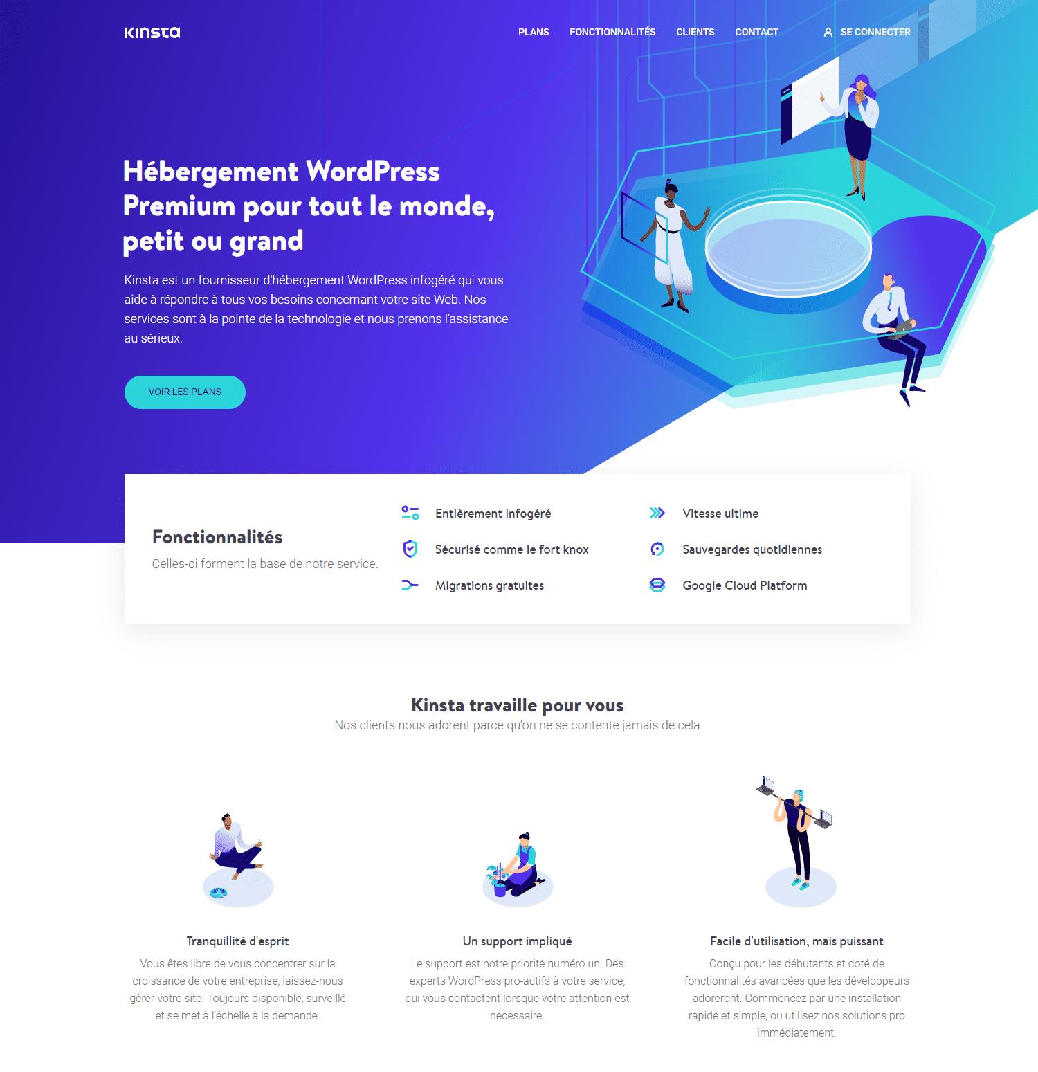 La page d'accueil du site de Kinsta France