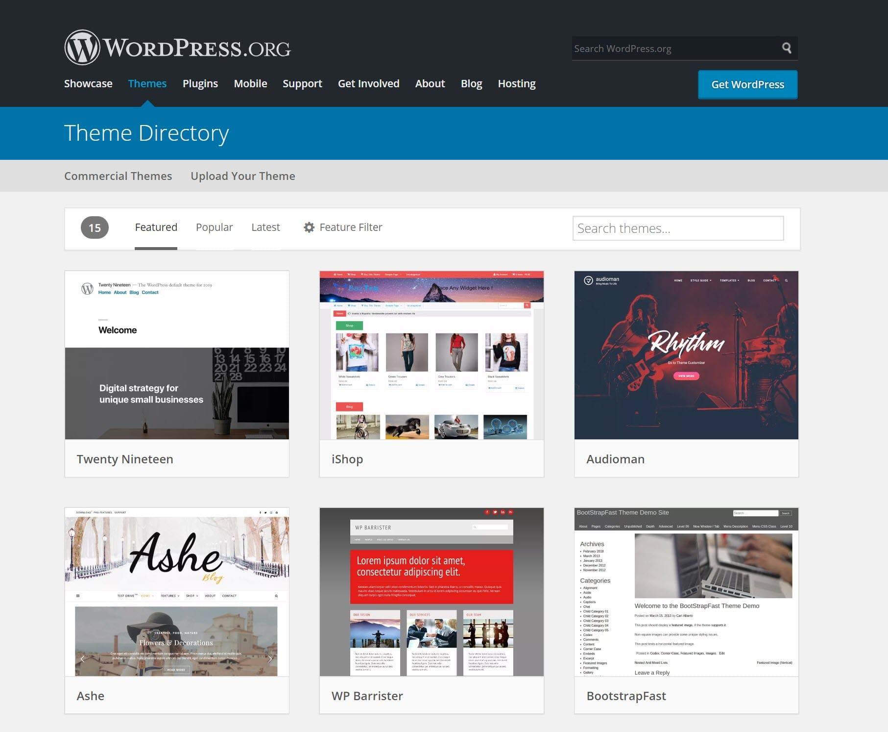 Page d'accueil du répertoire des thèmes WordPress