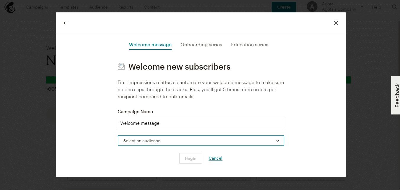 Répondeur automatique d'e-mail Mailchimp