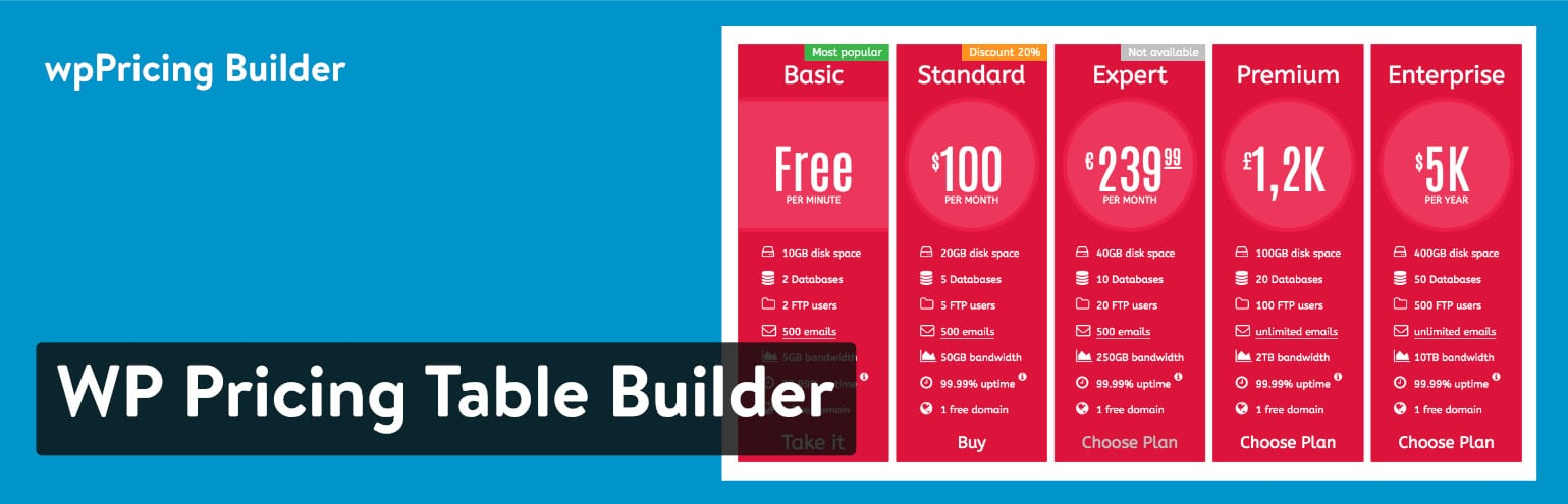 WP Pricing Table Builder – Extension de tableau de prix responsive pour WordPress
