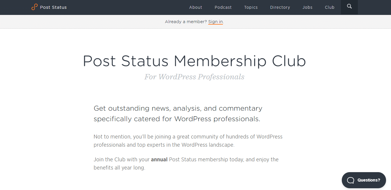 Adhésion à Post Status