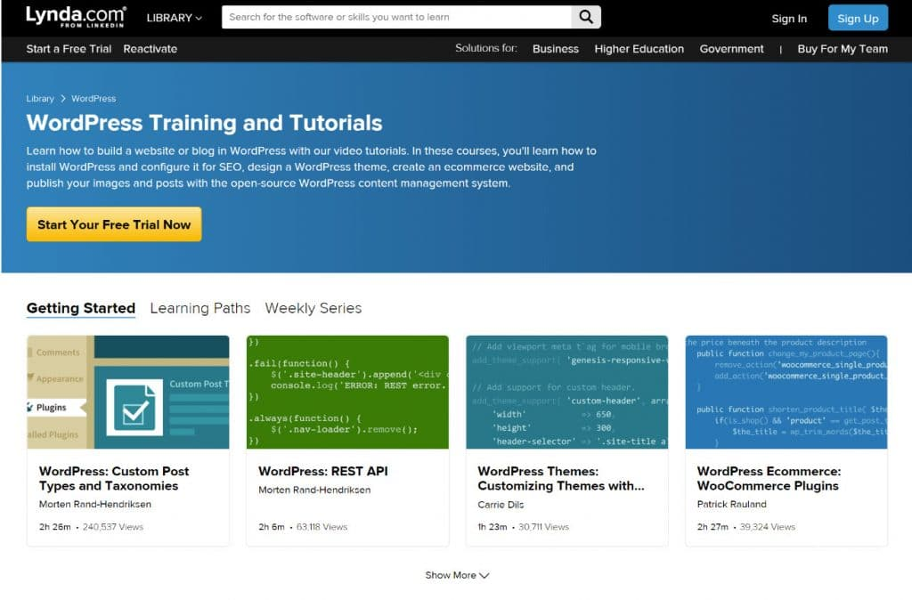Apprendre WordPress avec Lynda.com