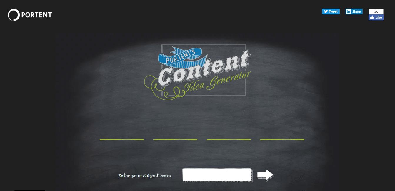 Générateur d'idées de contenu Portent