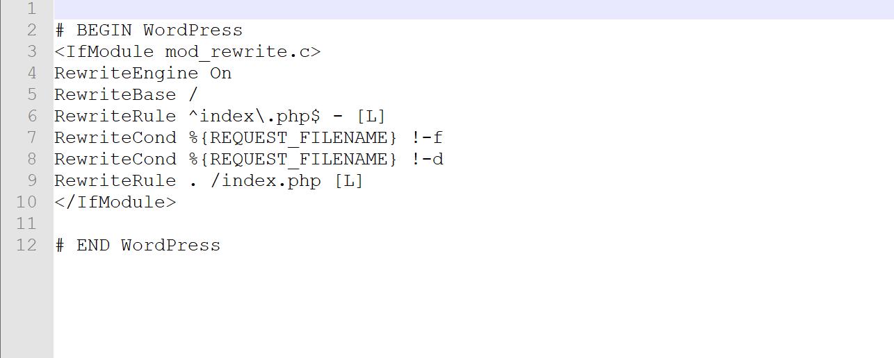 Un exemple de fichier .htaccess WordPress par défaut