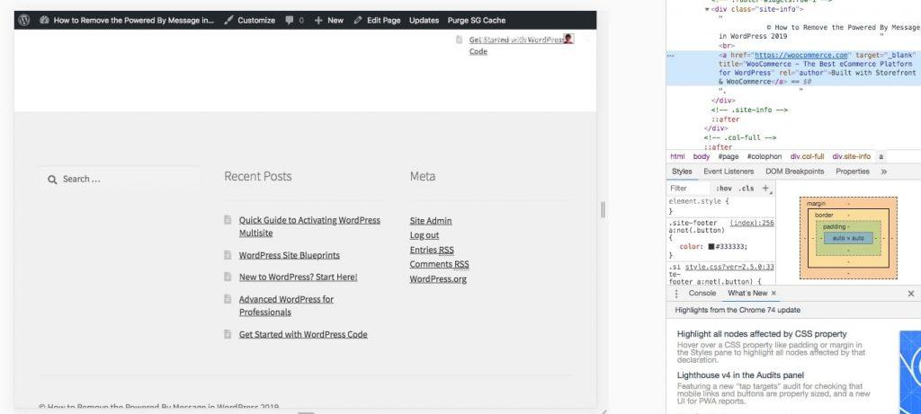 Le HTML ajouté par le crédit dans le thème Storefront