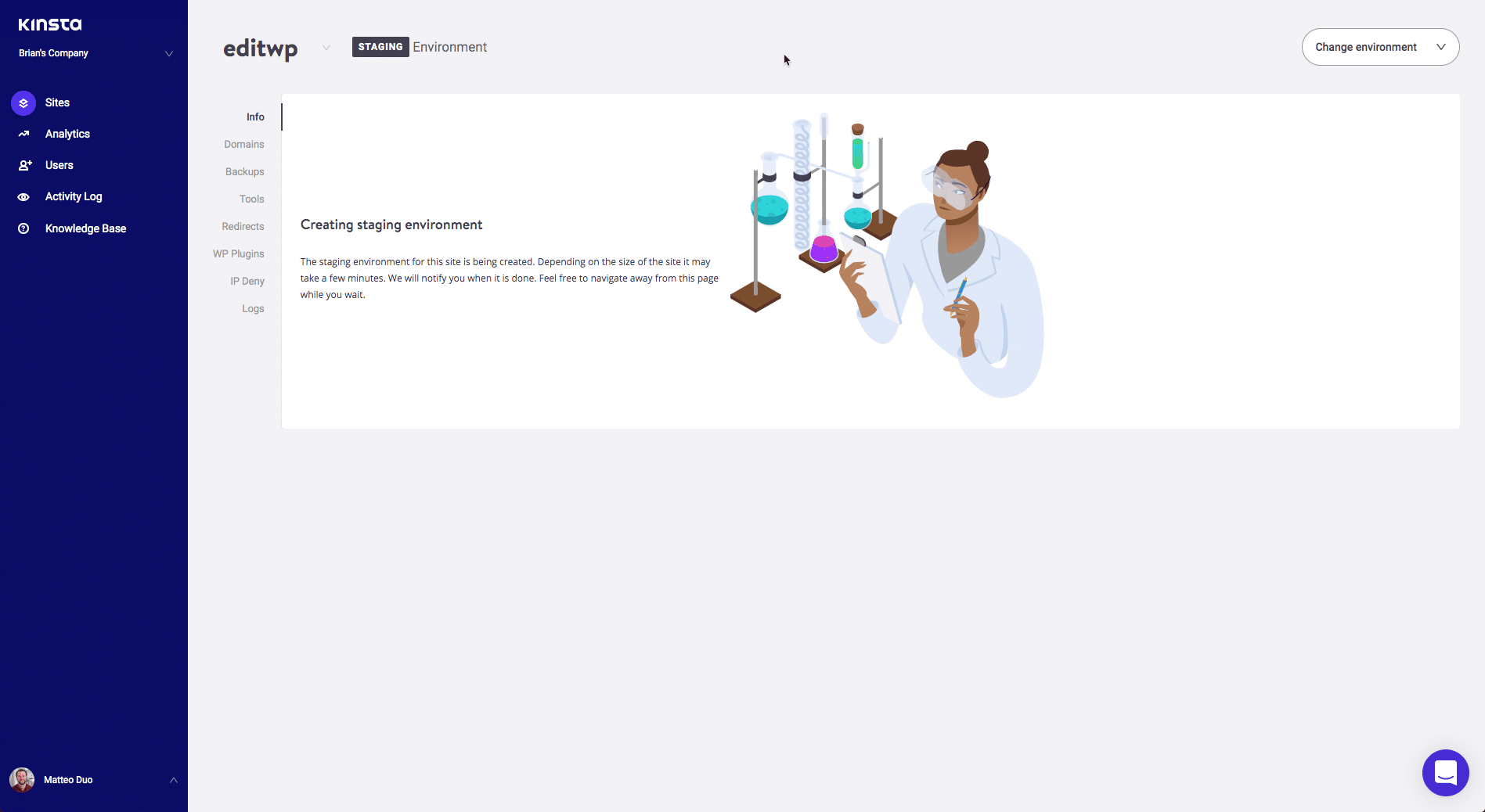 Site de développement créé dans MyKinsta