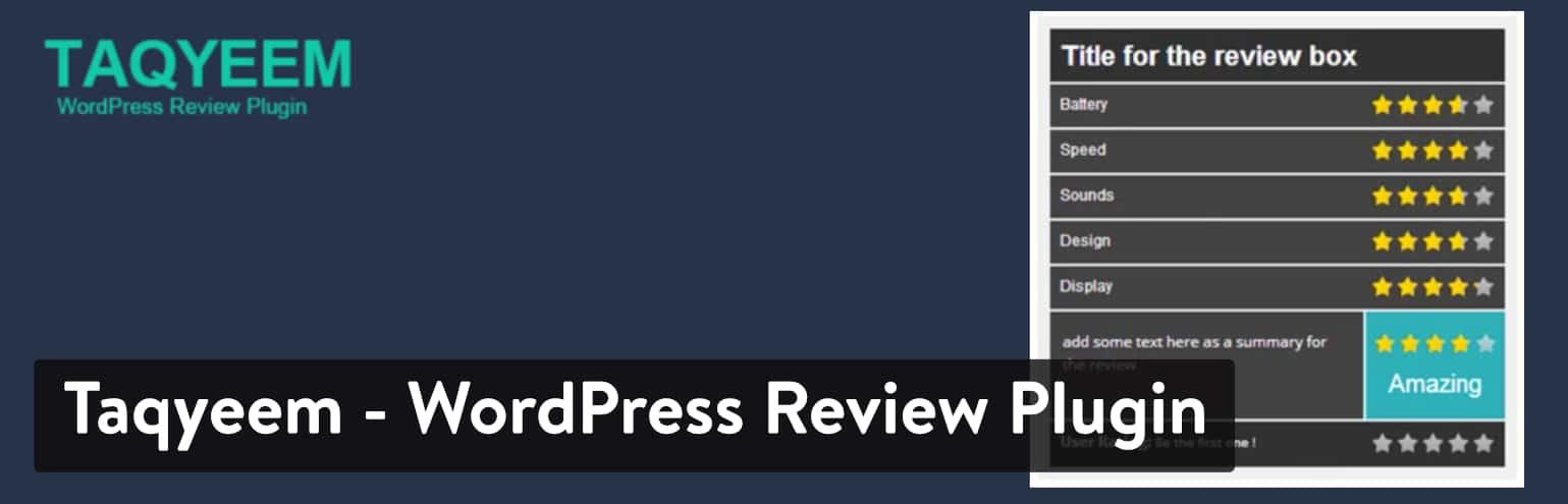 Meilleures extensions d'avis WordPress : Taqyeem