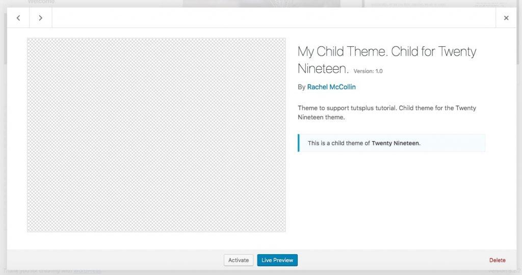 La page du thème dans WordPress sans capture d'écran