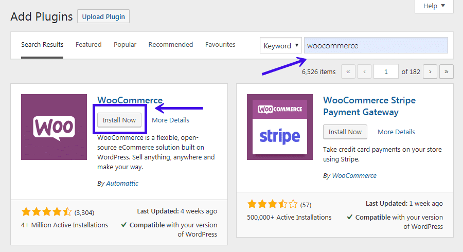 Installation de WooCommerce