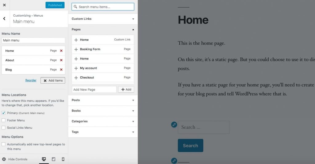Ajout d'un élément de menu dans la personnalisation de WordPress