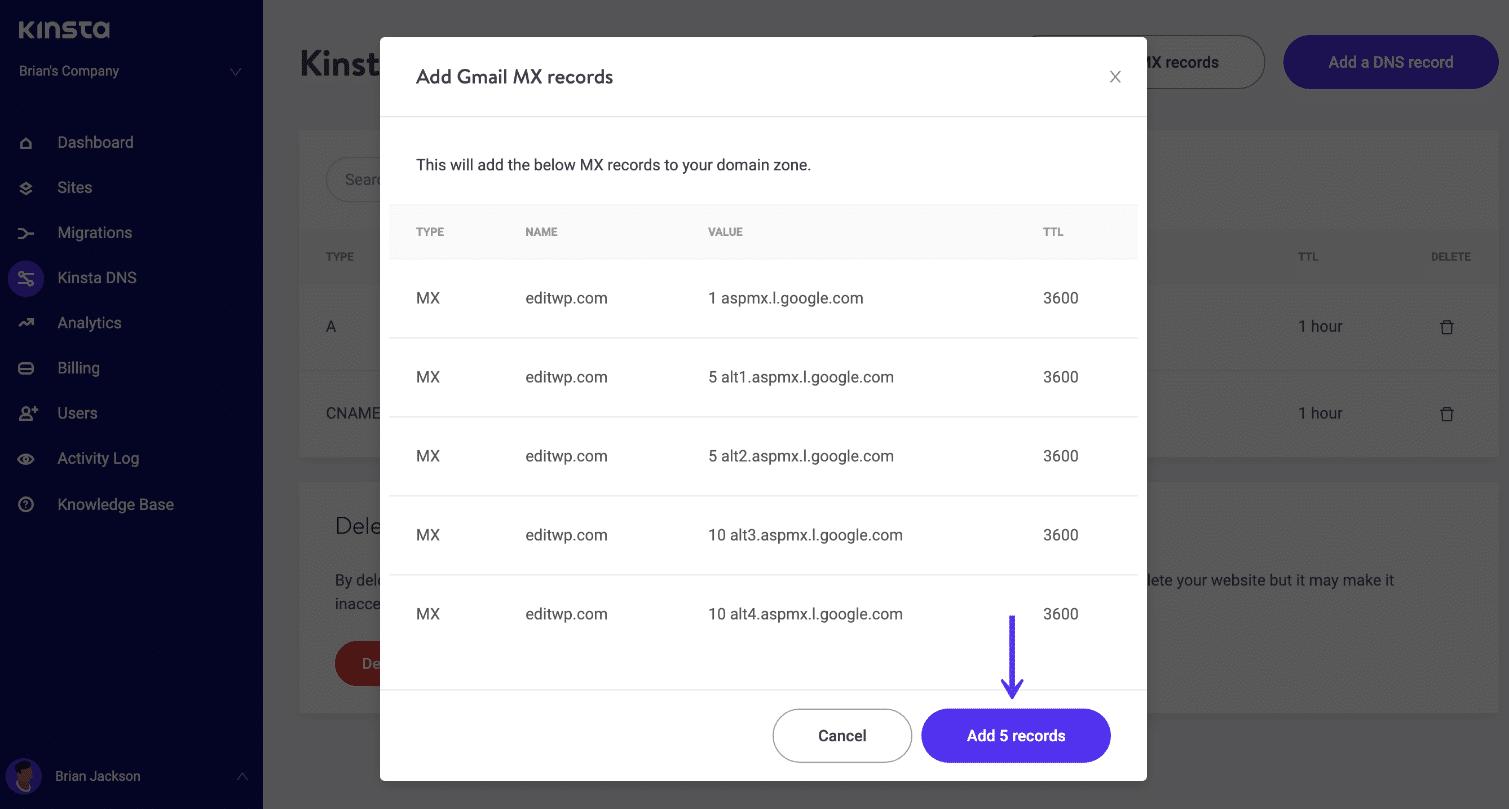 Ajouter des enregistrements aspmx.l.google.com