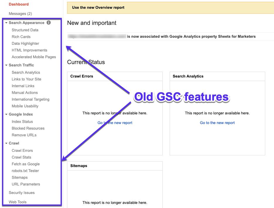 Anciennes fonctionnalités de la GSC