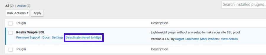 Désactiver le plugin Really Simple SSL