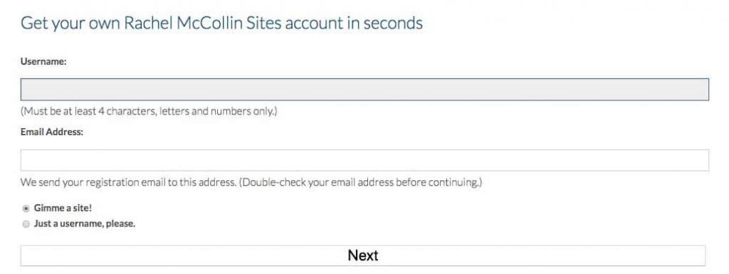 L'écran d'inscription wp-signup