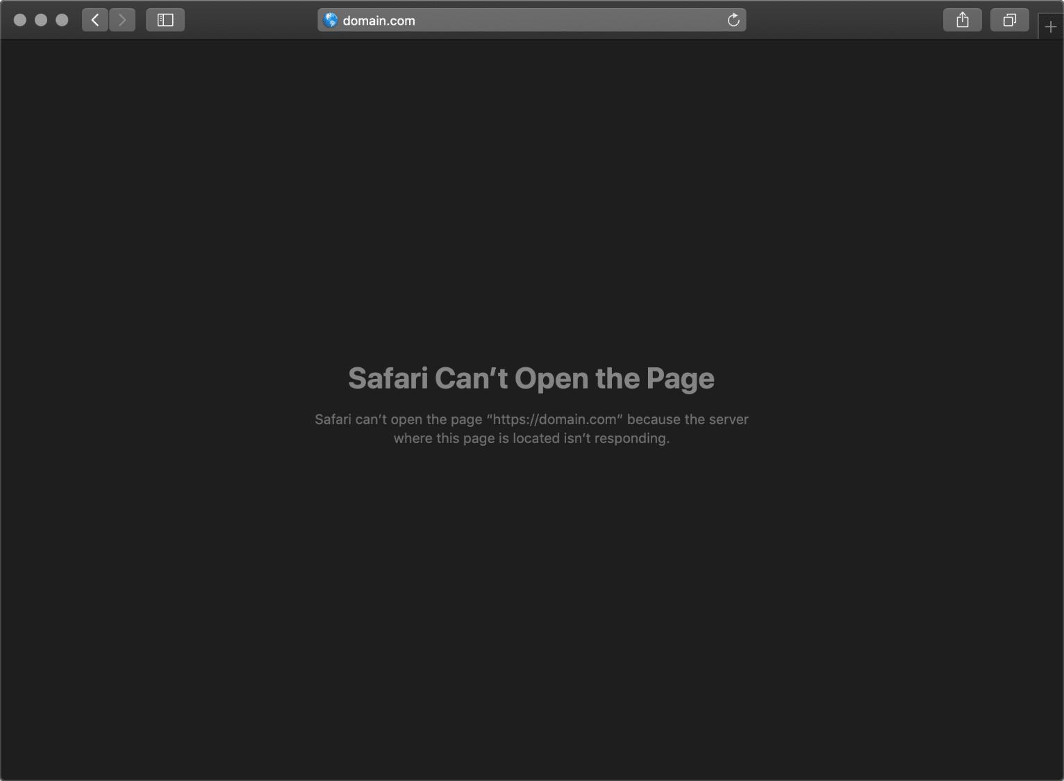 Erreur ERR_CONNECTION_TIMED_OUT dans Safari