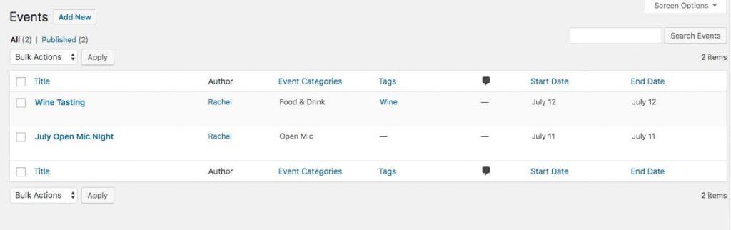 Événements créés par l'extension Events Calendar