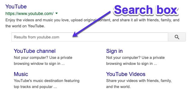 Boîte de recherche dans les liens de site Google
