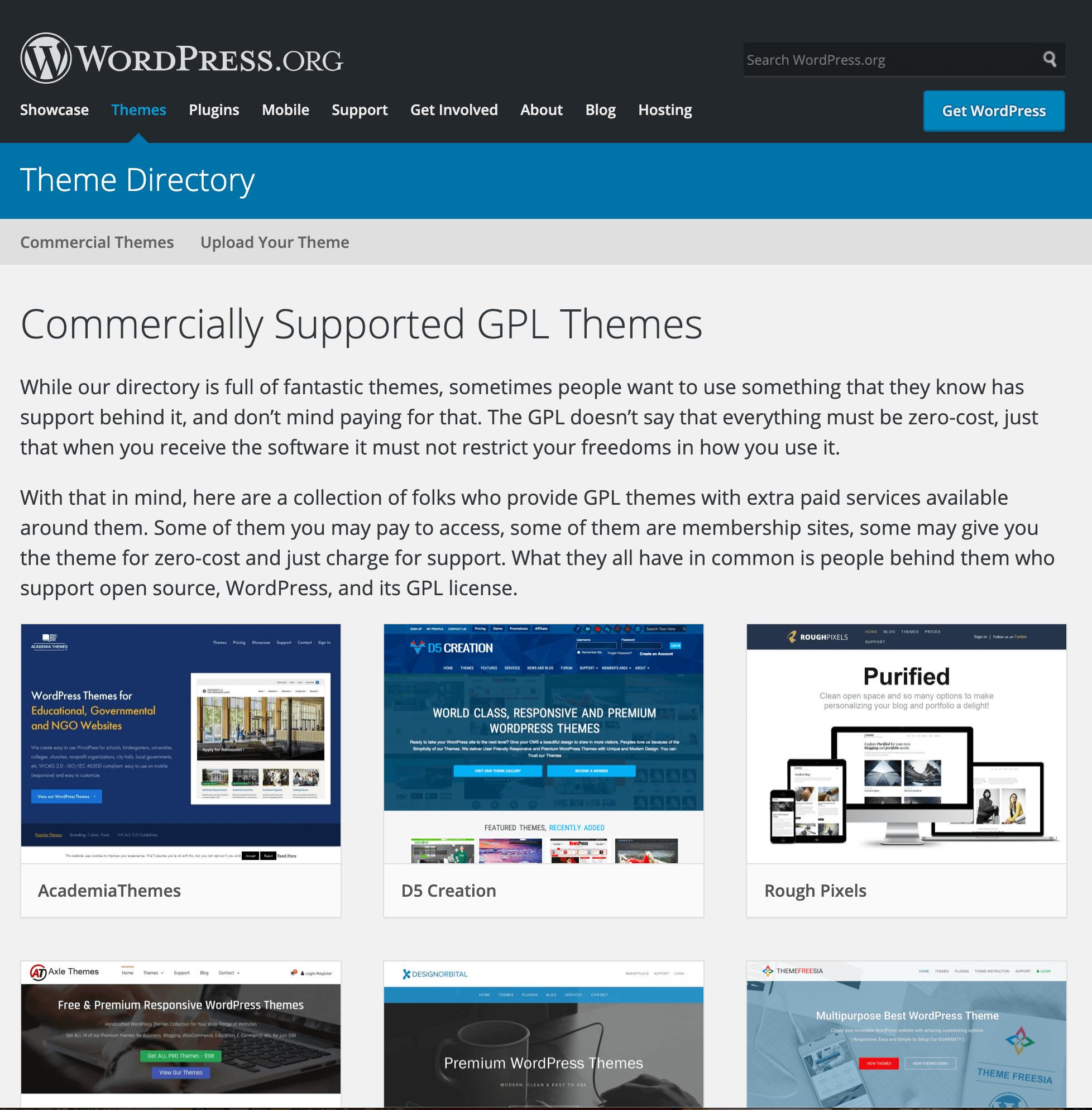 Page d'accueil des thèmes commerciaux WordPress