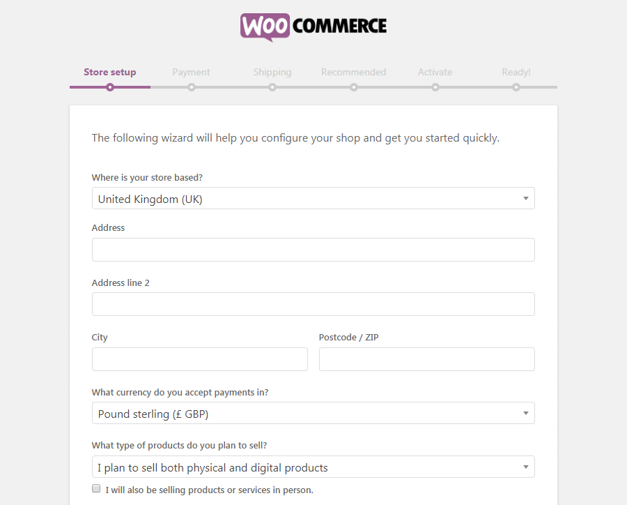 La page d'installation de la boutique WooCommerce