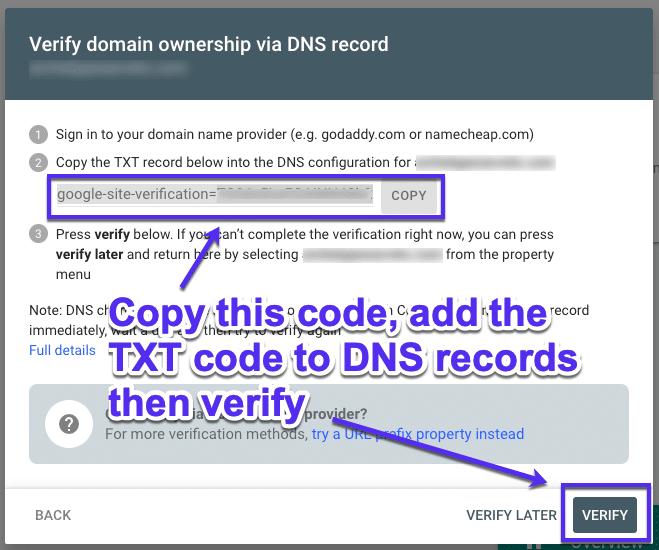 Vérifier la propriété via les enregistrements DNS