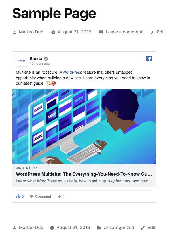 L'iframe de Facebook intégrée à WordPress