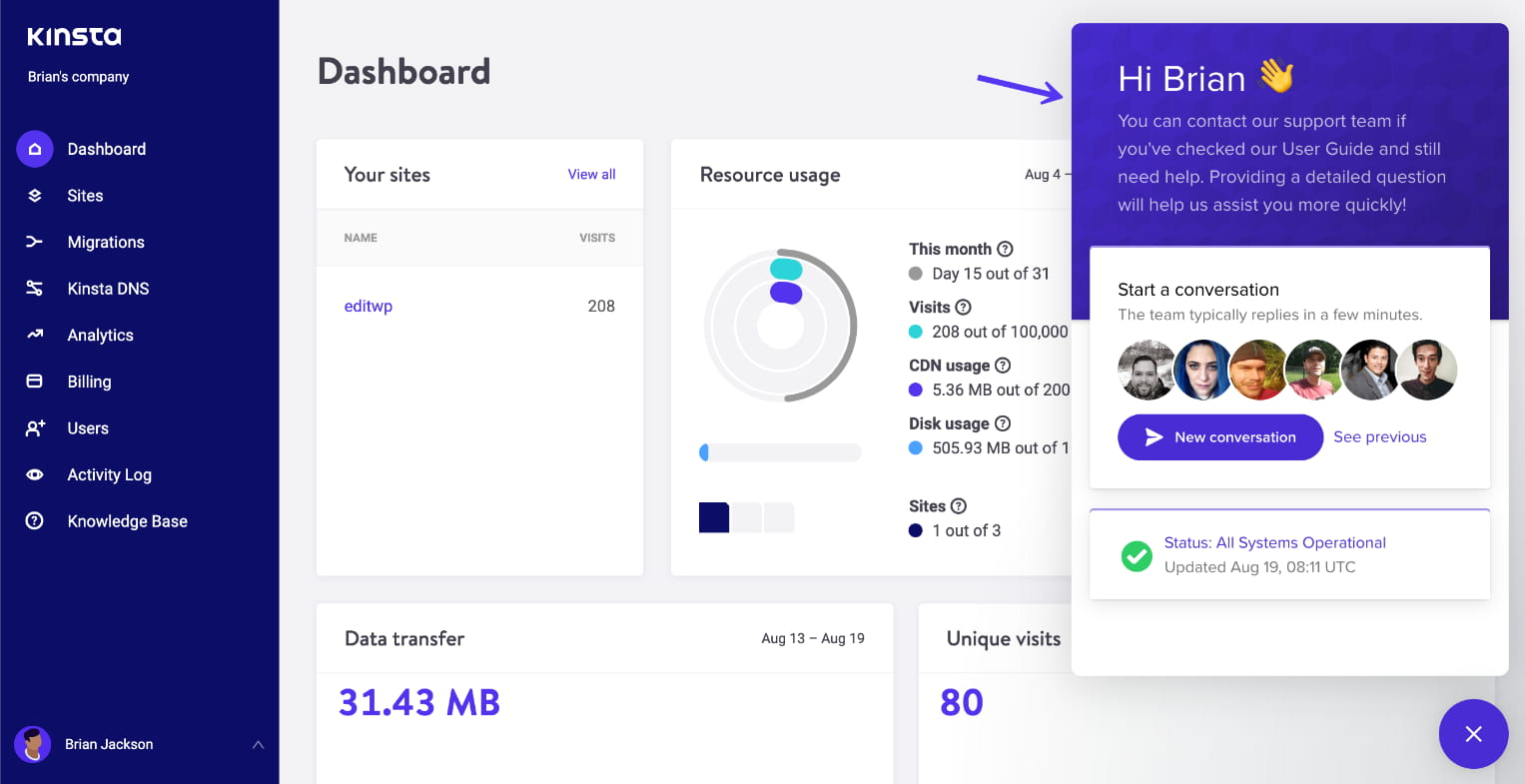 Support WordPress de Kinsta