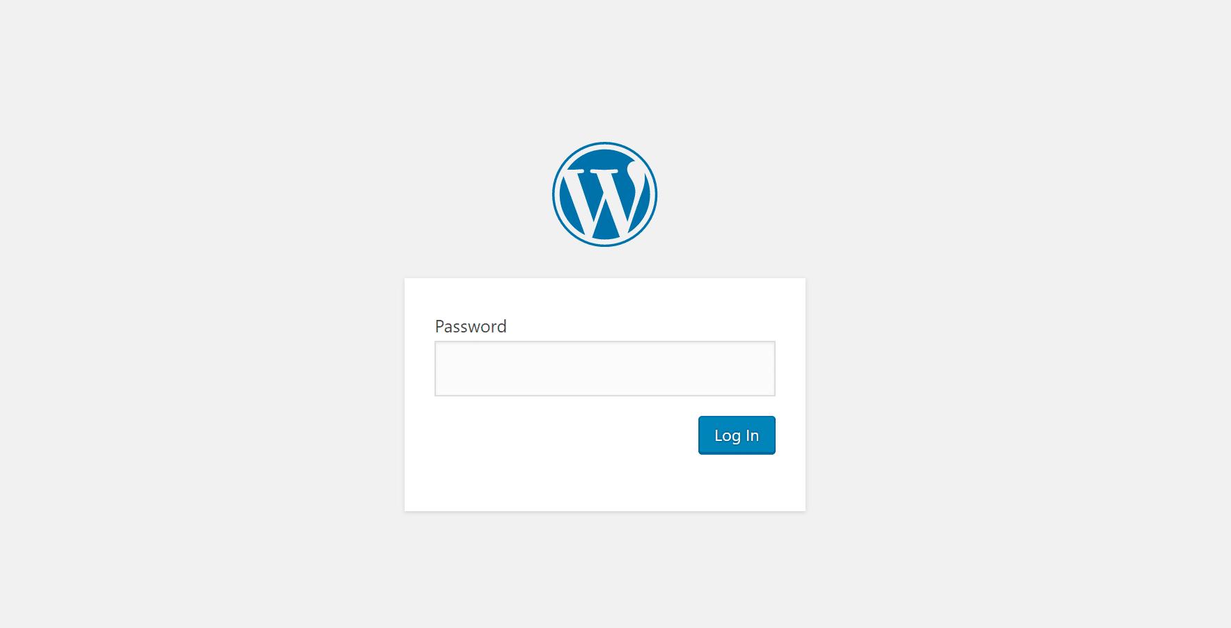 Le formulaire de mot de passe pour tout le site