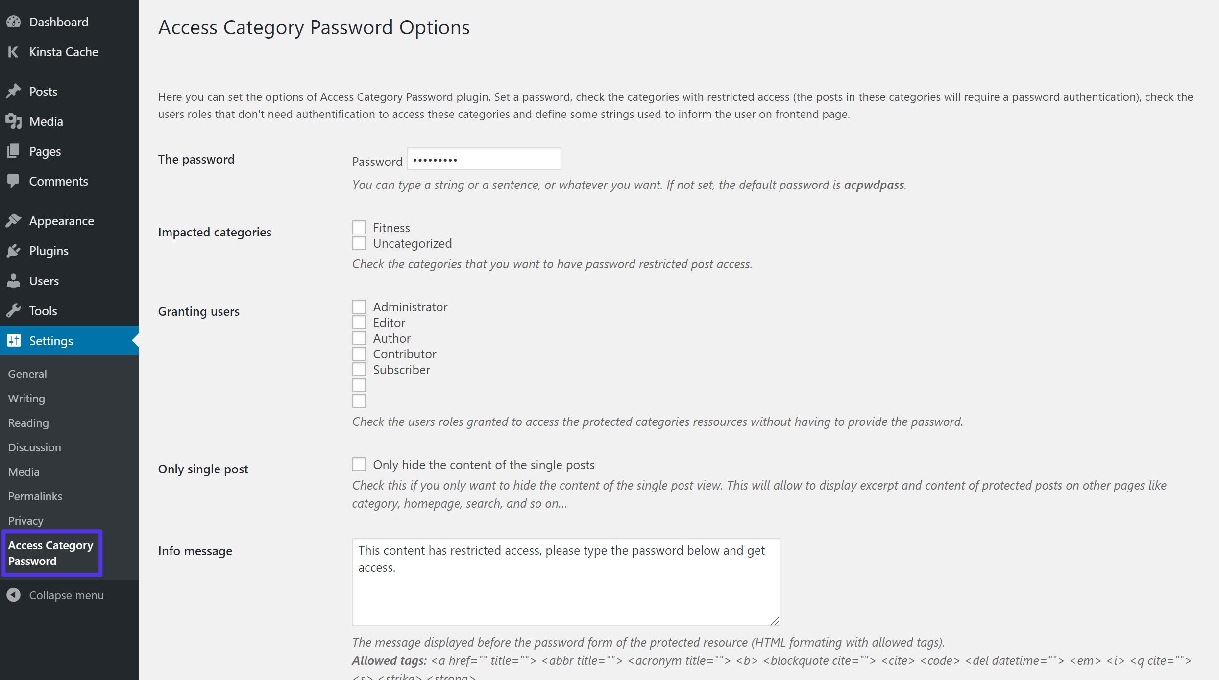 Réglages pour Access Category Password