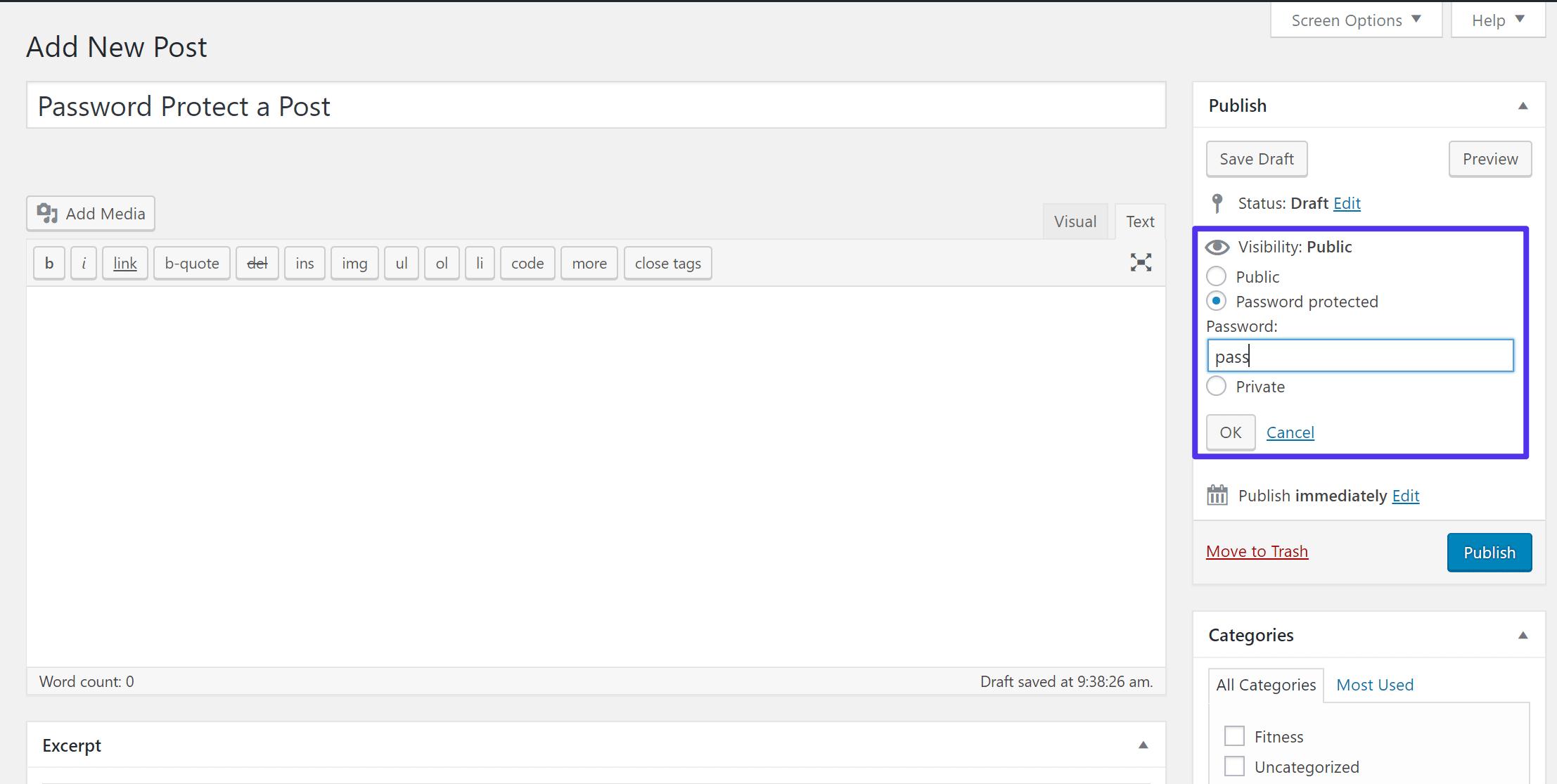 Où trouver les réglages de visibilité de WordPress