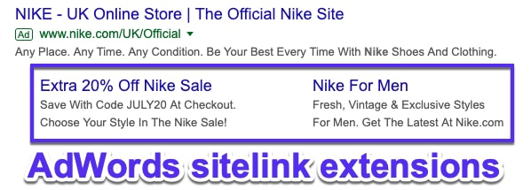 Liens de site Google AdWords
