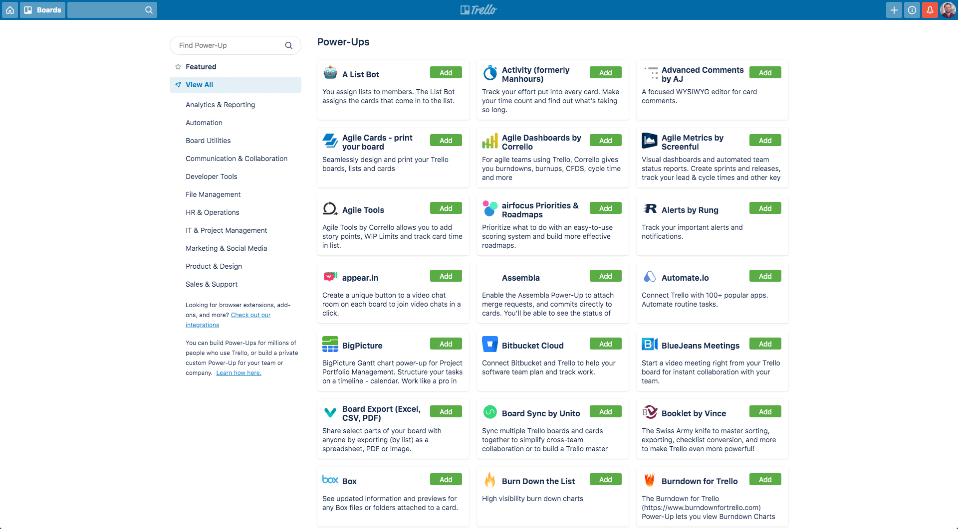 Power-ups Trello