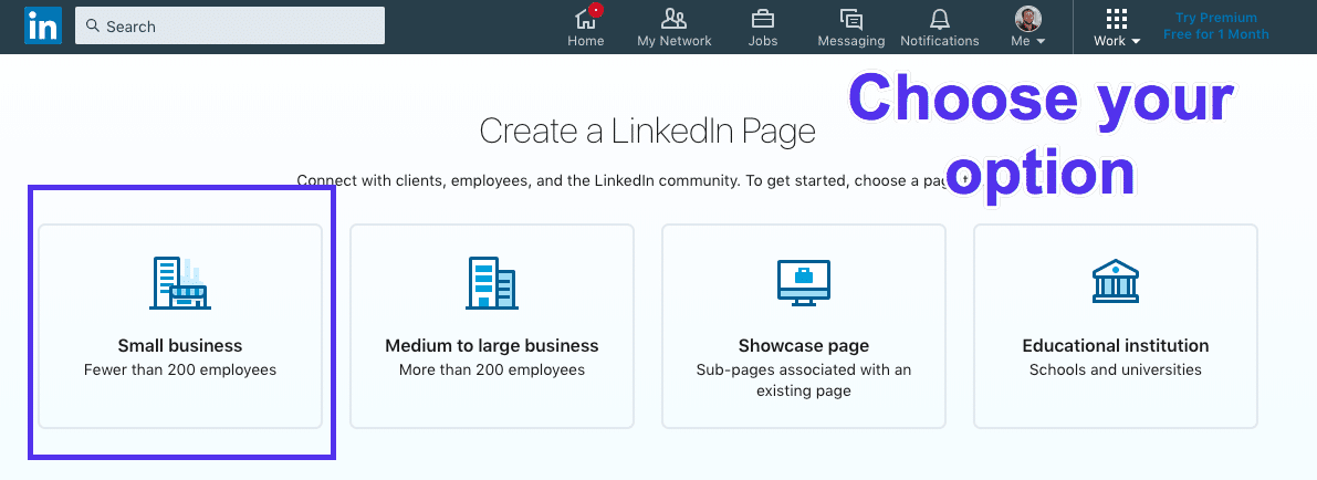 Types de pages LinkedIn