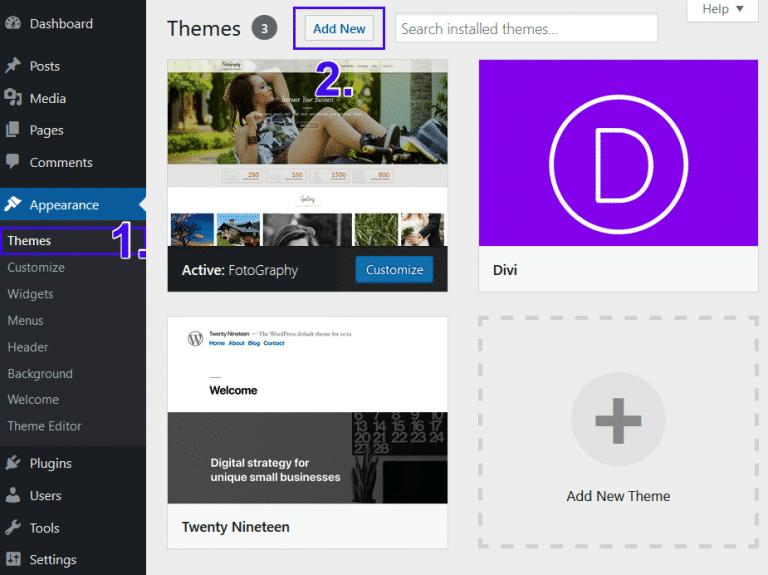 Ajouter un nouveau thème WordPress
