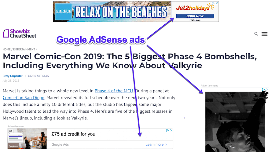 Exemples Google AdSense