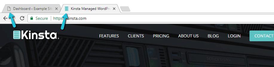 Un exemple de favicon WordPress