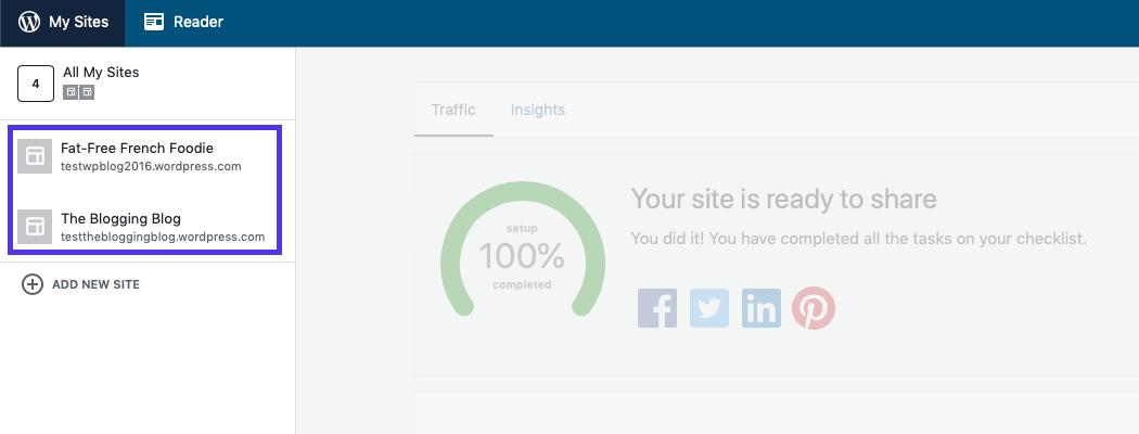 Vos sites web sont listés à gauche.