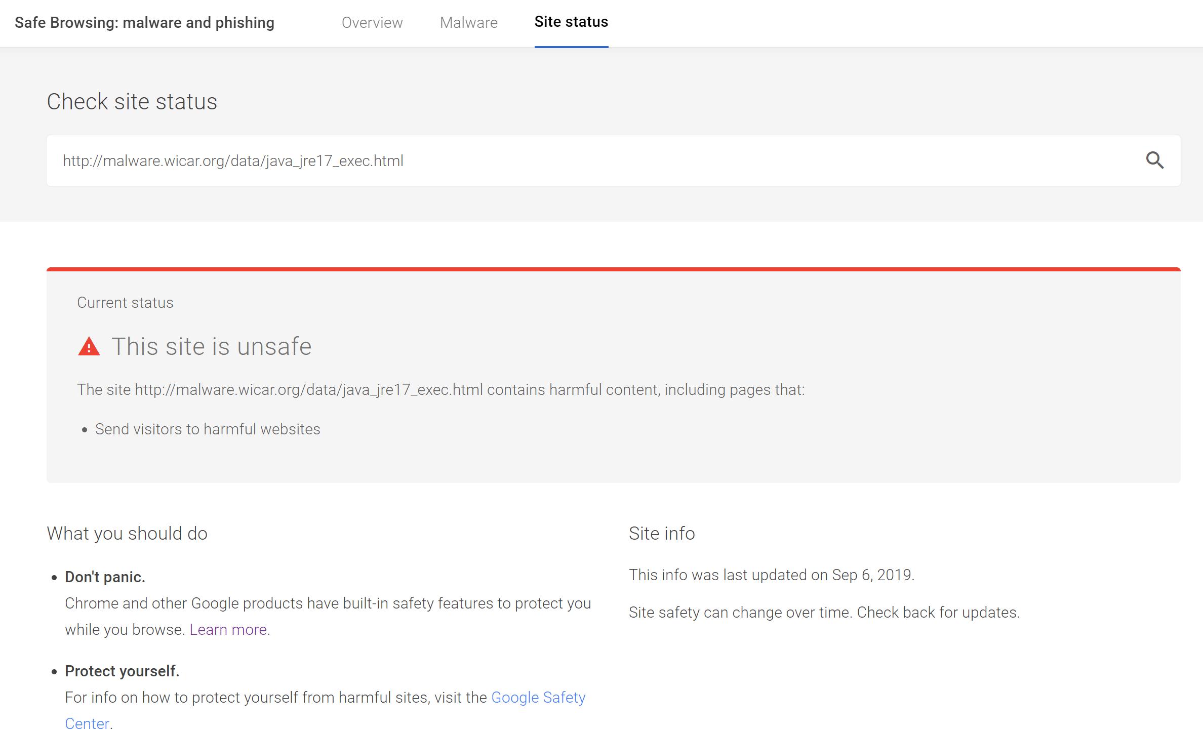 Résultats de l'outil Google Safe Browsing