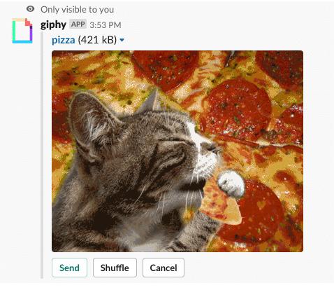Aperçu de Giphy sur Slack