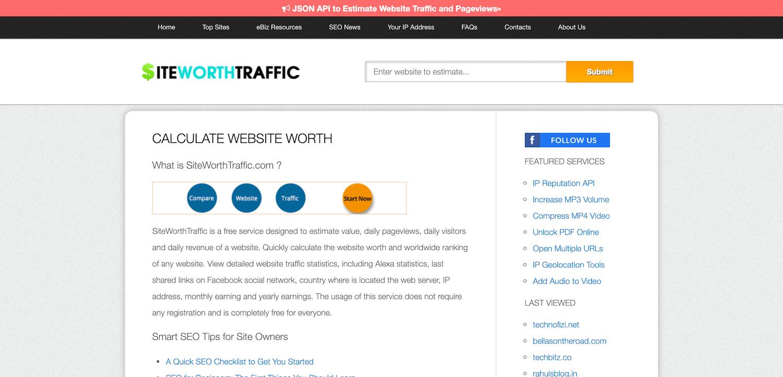 Calculateur de valeur de site Web SiteWorthTraffic