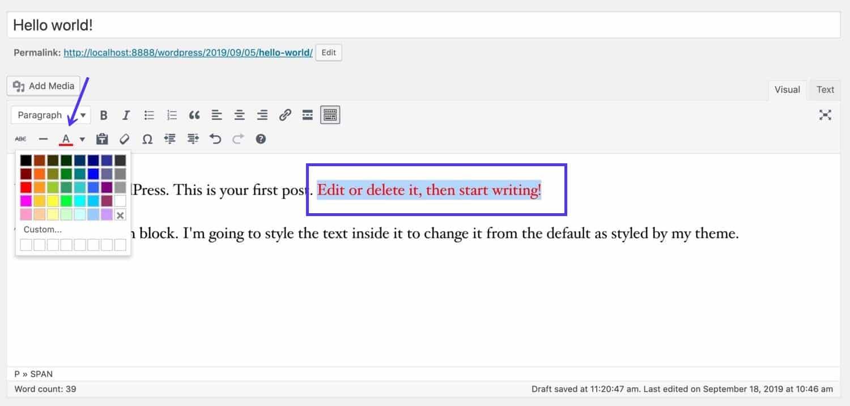 Changer les couleurs dans l'éditeur classique