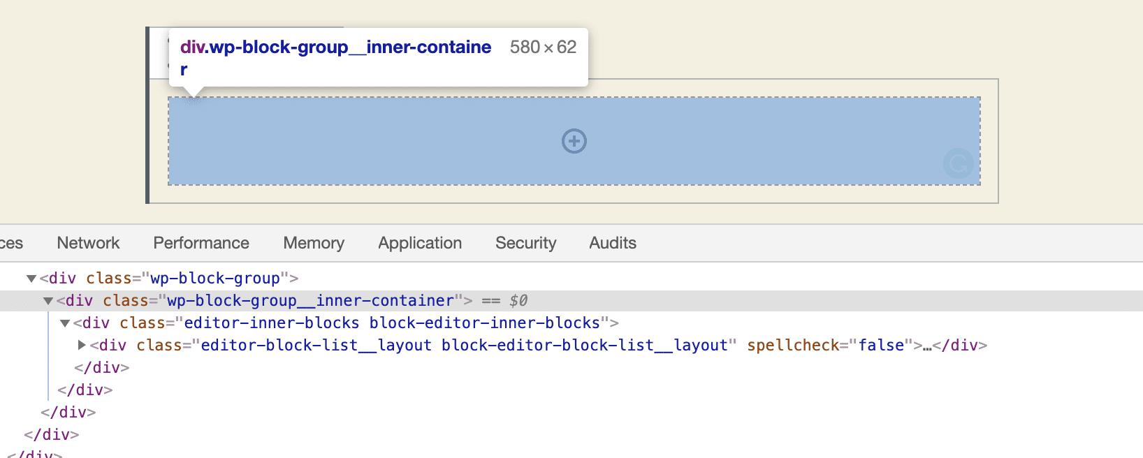 Conteneur interne de groupe de bloc dans l'éditeur de blocs.