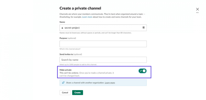 Création d'une chaîne privée dans Slack