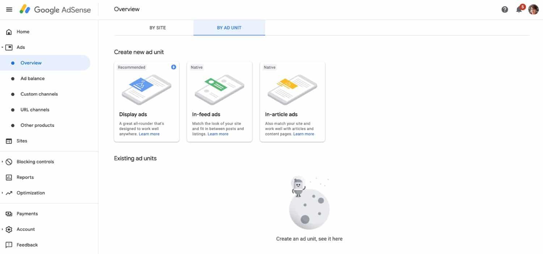 Onglet Unité de publicité dans Google Adsense