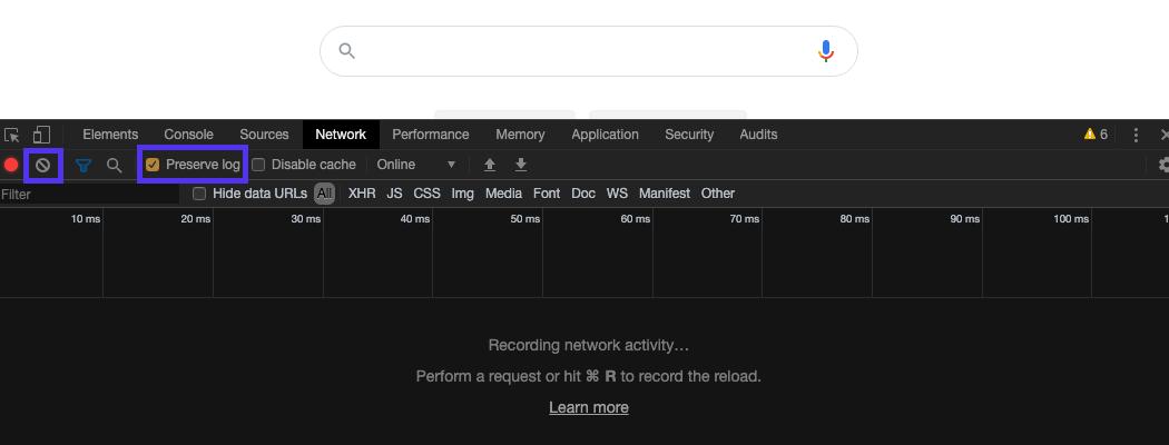 Sélectionnez l'option pour préserver le journal, puis cliquez sur Effacer pour effacer les messages précédents.