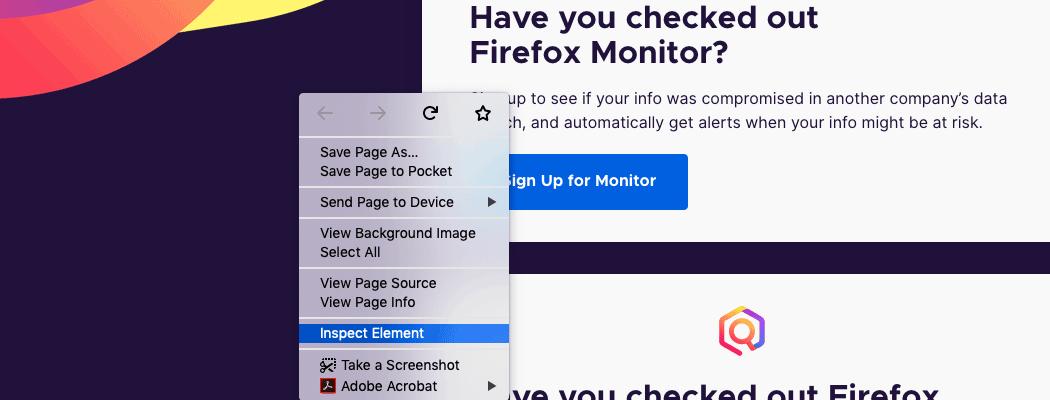 Sélectionnez Inspecter l'élément après avoir cliqué sur la page avec le bouton droit de la souris.