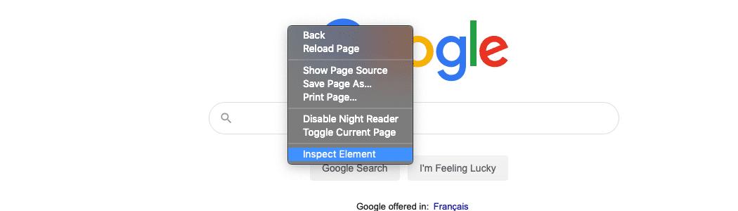 Sélectionnez l'option Inspecter l'élément après avoir cliqué sur la page avec le bouton droit de la souris.